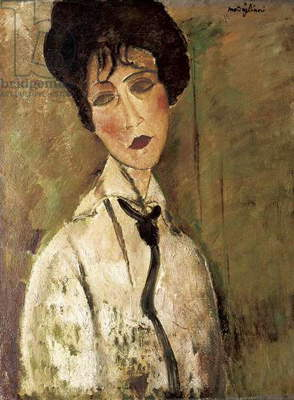 Portrait of Woman with Black Tie, by Amedeo Modigliani, 1917, 20th Century, oil on canvas, 65.5 x 50.5 cm