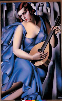 Woman in blue with a guitar, 1929 (oil on canvas)