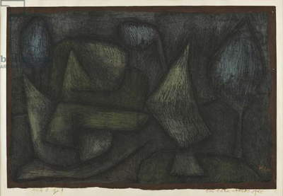 A park Late in the Evening (Ein Park abends spät), by Paul Klee, 1940, chalk on priming with glue on newsprint on cardboard, 32 x 47 cm