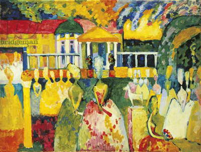 Ladies in Crinolines, by Wassily Kandinsky, 1909, 20th Century, oil on canvas, 96,3 x 128,5 cm