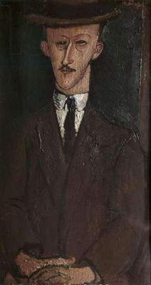 Portrait of a Man with a Hat, by Amedeo Modigliani, 1917, 20th Century, oil on canvas, 83 x 45.5 cm