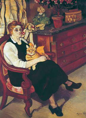 Portrait of Lily Walton with Raminou (Portrait de Miss Lily Walton avec Raminou), by Suzanne Valadon, 1922, 20th Century, oil on canvas, 100 x 81 cm