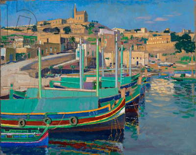 Mgarr Fishing boats, Gozo, (oil on paper)