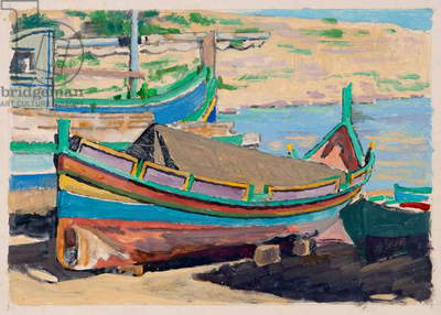 Mgarr Fishing Boats, Gozo (oil on paper)