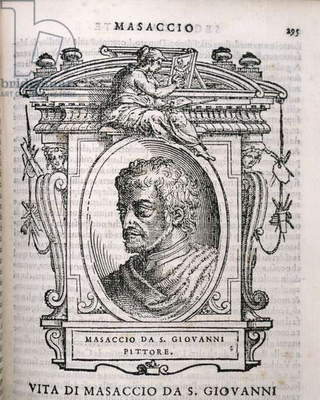 Portrait of Tomaso Masaccio (1401-28) from Vasari's 'Lives of the Artists', first published 1550 (engraving)