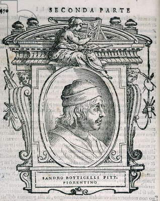 Portrait of Sandro Botticelli (1444/5-1510) from Vasari's 'Lives of the Artists', first published 1550 (engraving)