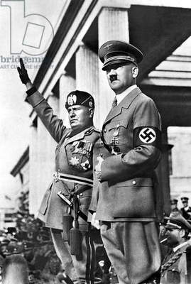 Mussolini and Hitler together in Berlin, May 1, 1938.