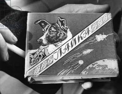 Laika the Russian space dog, first creature to orbit the earth has a brand of cigarettes named for him, 1960