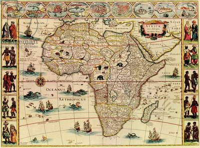 Map of Africa from 1660s. Top border depicts African cities, and side borders show men and women of African peoples