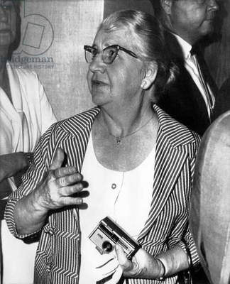 Kennedy Assassination. Marguerite Oswald (mother of Lee Harvey Oswald), at sanity hearing for Jack Ruby, Dallas, Texas, June 1966