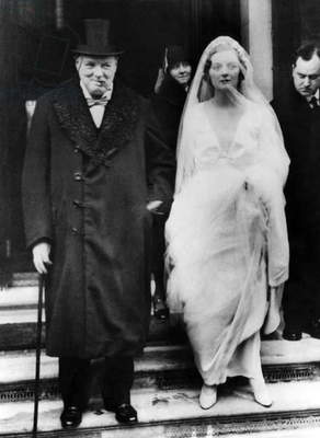 Winston Churchill escorts his daughter, Diana Churchill, to the church on her wedding day, 1932.