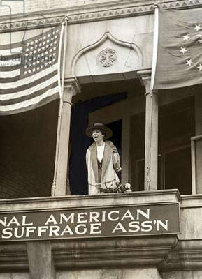 Miss Jeannette Rankin, of Montana, speaking from the balcony of the National American Woman Suffrage Association, Washington, DC . Monday, April 2, 1917