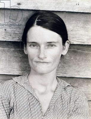 Allie Mae Burroughs, wife of Floyd Burroughs, sharecropper. Hale County, Alabama. Published in the book, 'Let Us Now Praise Famous Men'. photograph by Walker Evans, July, 1936