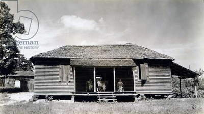 The family home of Floyd Burroughs, cotton sharecropper. Hale County, Alabama. Published in the book, 'Let Us Now Praise Famous Men'. photograph by Walker Evans, 1936