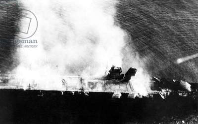 Battle of Midway, June 3-7, 1942. Japanese aircraft carrier Hiryu (Flying Dragon), abandoned and burning after attacks by dive bombers from USS Yorktown and Enterprise. World War 2