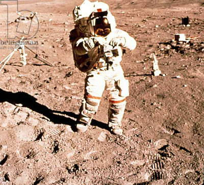 Alan Shepard walking on the moon during the Apollo 14 mission, 1971
