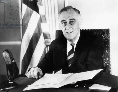 President Franklin D. Roosevelt (1882-1945), U.S. President 1933-1945, speaking to the United States and calling for greater exertion and sacrifice for the war, January 6, 1945