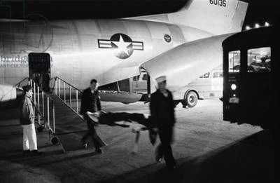 Wounded servicemen arriving from Vietnam at Andrews Air Force Base on March 8, 1968. Press coverage of US causalities during the Tet Offensive shocked the American public and tipped public opinion against the war
