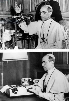POPE PIUS XII, 1954 First pontiff to use radio for mass communication. Olivetti typewriter made especially for the pope.