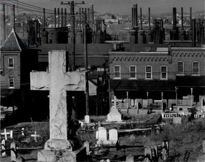 Bethlehem graveyard and steel mill, Pennsylvania, photograph by Walker Evans, November, 1935
