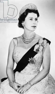 British Royalty. Queen Elizabeth II of England, Buckingham Palace, London, England, c.early 1960s