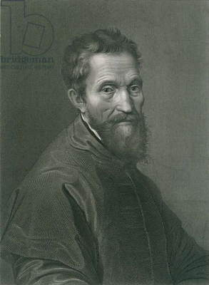 Michelangelo Buonarroti (1475-1564), master sculptor and painter of the High Renaissance. 1876 engraving by A. Francois after a Michelangelo self portrait