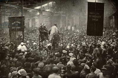 Meeting in the Putilov Works in Petrograd during the 1917 Russian Revolution. In February 1917 strikes at the factory contributed to the February Revolution