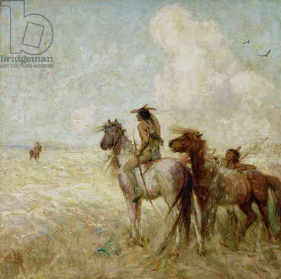 The Bison Hunters (oil on canvas)