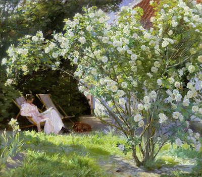 Roses, or The Artist's Wife in the Garden at Skagen (oil on canvas), 1883