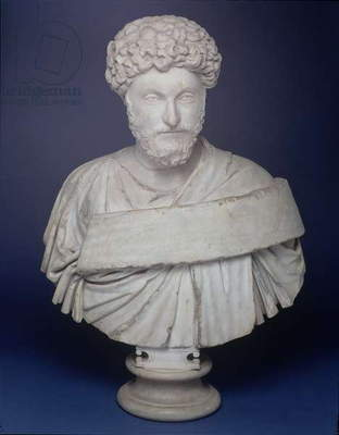 Head of the Emperor Marcus Aurelius, mounted on a later bust, Luna Marble, Alexandrian work, 2nd century AD