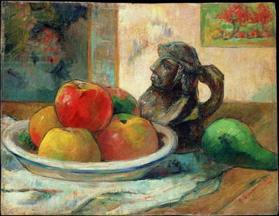 Still Life with Apples, a Pear and a Ceramic Portrait Jug, 1889 (oil on panel)
