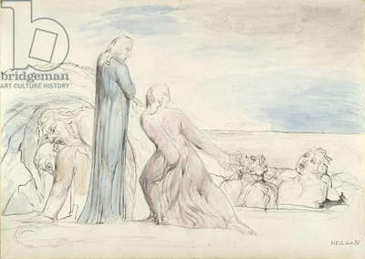 Dante seizing the Traitor Bocca by the Hair, illustration to the 'Divine Comedy' by Dante Alighieri, 1824-27 (pen & ink with w/c over pencil and chalk on paper)