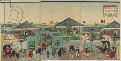 Picture of the Prosperity of Mercantile Establishments along Nakadouri on the Yokohama, Meiji era, 1870 (colour woodblock print)