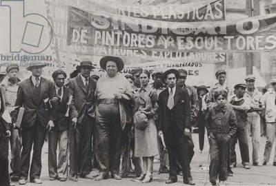 Diego Rivera and Frida Kahlo in the May Day Parade, Mexico City, 1st May 1929 (b/w photo)
