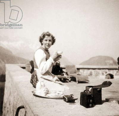 Eva Braun relaxing at the Berghof, 1942 (b/w photo)