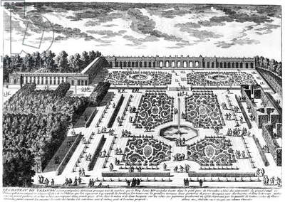 VERSAILLES: GARDEN, 1685 Gardens of the Petit Trianon at the royal Palace of Versailles, France. Line engraving from Perelle's 'Views of the Beautiful Houses of France,' 1685.