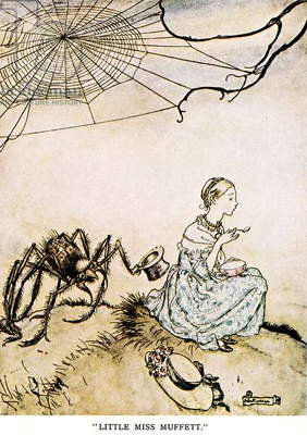 LITTLE MISS MUFFET, 1913 Illustration by Arthur Rackham, 1913, for an edition of 'Mother Goose' nursery rhymes.