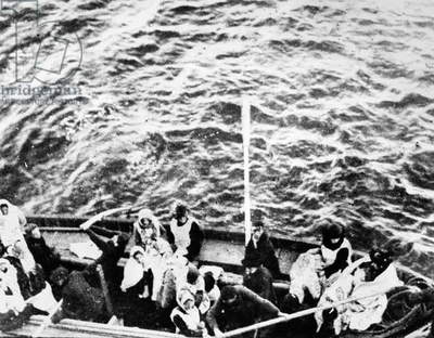 TITANIC: LIFEBOATS, 1912 'Titanic' survivors on their way to the rescue ship 'Carpathia.' Photographed April 1912.