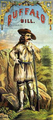WILLIAM F. CODY (1846-1917) William Frederick Cody. Known as Buffalo Bill. American frontiersman and showman. Buffalo Bill in buckskin clothing, carrying a rifle and handgun. Lithograph, American, c.1870.