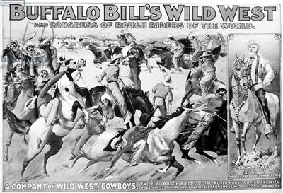 WILLIAM F. CODY (1846-1917) William Frederick Cody. Known as Buffalo Bill. American frontiersman and showman. 'A Company of Wild West Cowboys.' American lithograph poster, 1899, for Buffalo Bill's Wild West Show.