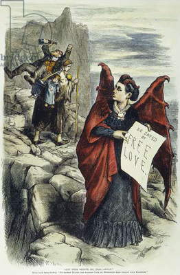 VICTORIA C. WOODHULL (1838-1927). American reformer. 'Get Thee Behind Me, (Mrs) Satan!': cartoon, 1872, by Thomas Nast attacking Victoria Claflin Woodhull as an advocate of Free Love.