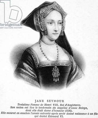 JANE SEYMOUR (1509-1537) Third wife of King Henry VIII of England. Lithograph, French, 19th century.