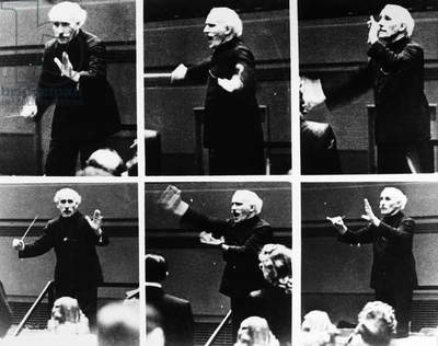 ARTURO TOSCANINI (1867-1957). Italian orchestral conductor. Photographic sequence of Toscanini conducting the NBC Symphony Orchestra in rehearsal, c.1945.