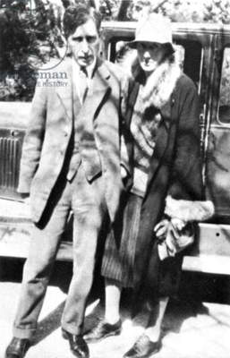 VIRGINIA WOOLF (1882-1941) English writer, with her husband Leonard Woolf in Cassis on the French Riviera in 1928.