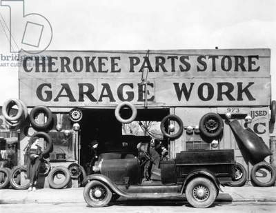 EVANS: GARAGE, 1936 Garage at Atlanta, Georgia. Photographed by Walker Evans, 1936.
