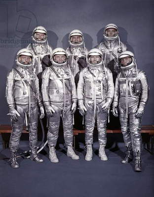 SPACE: ASTRONAUTS, 1960 The original seven astronauts of the Mercury Program. Front row, left to right: Walter Schirra, Donald 'Deke' Slayton, John Glenn, and Scott Carpenter; back row, Alan Shepard, Virgil 'Gus' Grissom, and Gordon Cooper. Photograph, 1960.