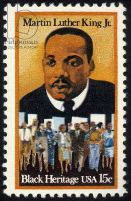 MARTIN LUTHER KING, JR (1929-1968). American clergyman and reformer. On a U.S. postage stamp, 1979.