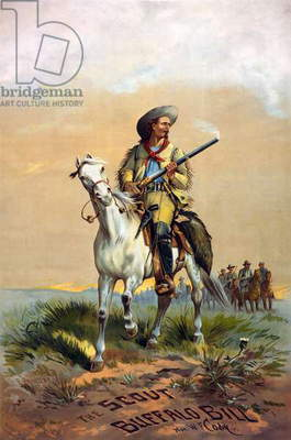 WILLIAM F. CODY (1846-1917) William Frederick Cody. Known as Buffalo Bill. American frontiersman and showman. 'The Scout Buffalo Bill.' Lithograph by Paul Frenzeny, late 19th century.
