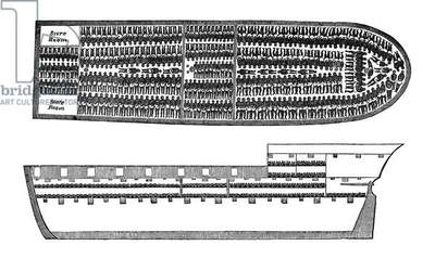 SLAVERY: SLAVE SHIP, 1858 Wood engraving, American, 1858.