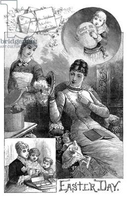 EASTER, 1884 Scenes from Easter Day. Engraving, American, 1884.